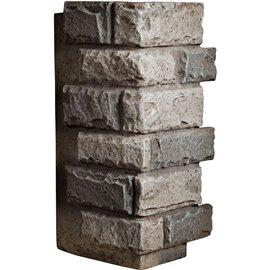 "12 1/2""W Board Side & 12""W Finger Side x 25""H x 1 1/2""D Cut Coarse Random Endurathane Faux Rock Outer Corner Siding Panel, Plati"