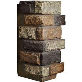 "12 1/2""W Board Side & 12""W Finger Side x 25""H x 1 1/2""D Cut Coarse Random Endurathane Faux Rock Outer Corner Siding Panel, Redst"