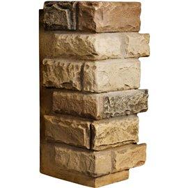"12 1/2""W Board Side & 12""W Finger Side x 25""H x 1 1/2""D Cut Coarse Random Endurathane Faux Rock Outer Corner Siding Panel, Satur"