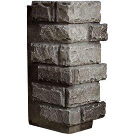 """12 1/2""""W Board Side & 12""""W Finger Side x 25""""H x 1 1/2""""D Cut Coarse Random Endurathane Faux Rock Outer Corner Siding Panel, Slate"""