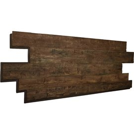 "98""W x 38""H x 1""D Hand Hewn Endurathane Faux Wood Siding Panel, Weathered Brown"
