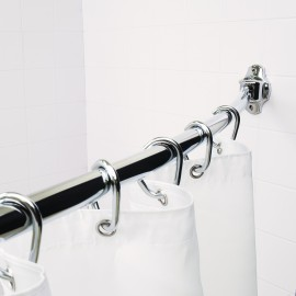 Curved Shower Rod Fits 60 inch-72 inch Openings. Finish: Polished Chrome