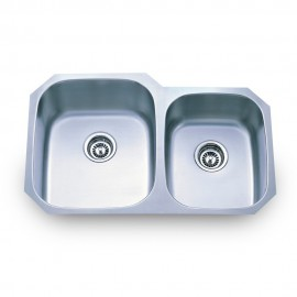 801L Stainless Steel Kitchen Sink with Two Unequal Bowls.
