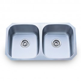 802-2 Stainless Steel Kitchen Sink with Two Equal Bowls.