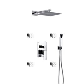 """Aqua Piazza Brass Shower Set with 12"""" Square Rain Shower, Handheld and 4 Body Jets"""