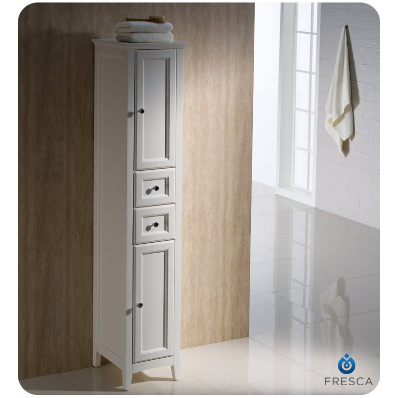 ... Fresca Oxford Antique White Tall Bathroom Linen Cabinet ...