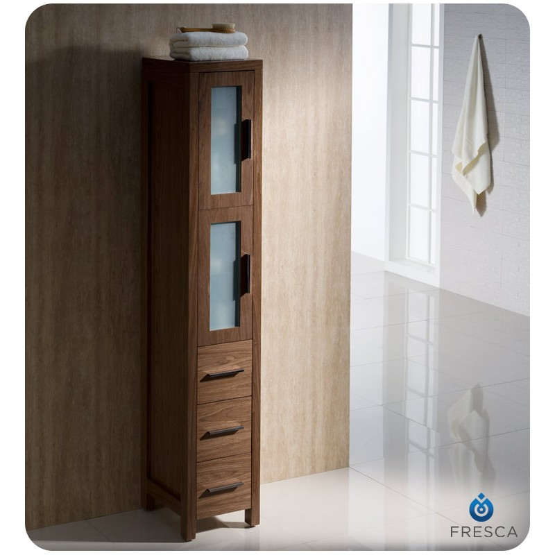 Fresca Torino Walnut Brown Tall Bathroom Linen Side
