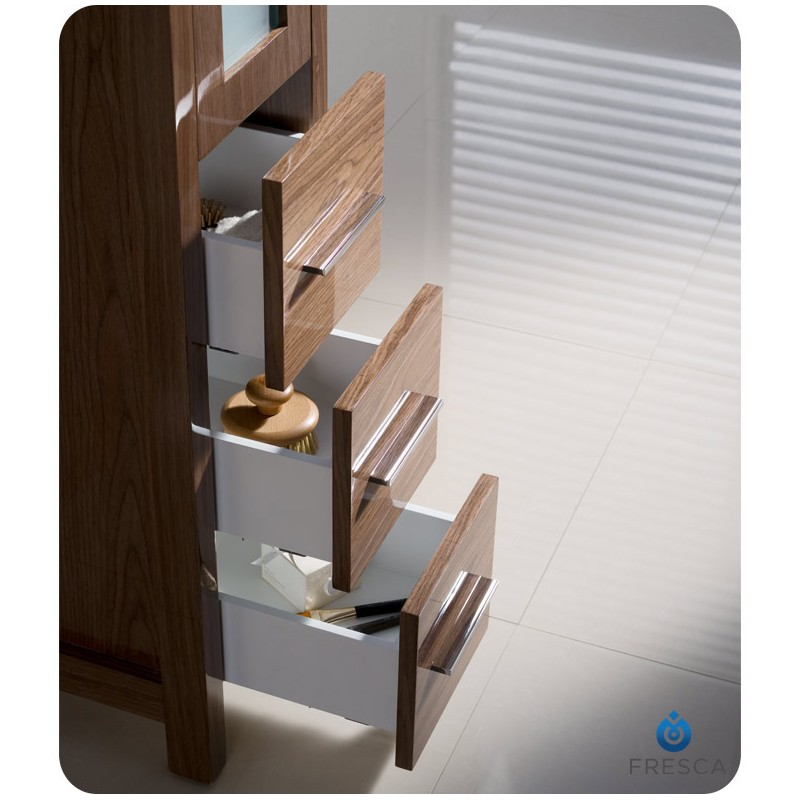 Fresca Torino Walnut Brown Tall Bathroom Linen Side Cabinet - Fresca torino white tall bathroom linen side cabinet