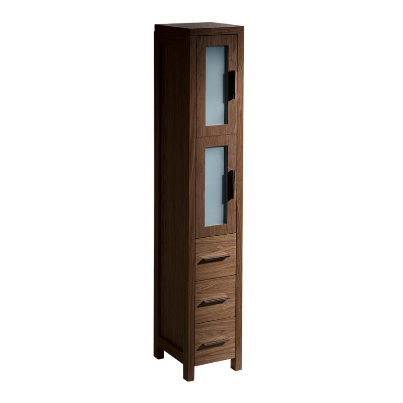 bathroom side cabinet fresca torino walnut brown bathroom linen side 11647