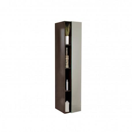 Fresca Gray Oak Bathroom Linen Side Cabinet w/ 4 Cubby Holes & Mirror