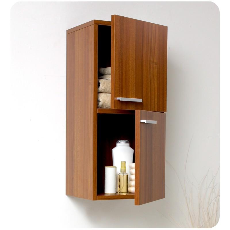 Fresca Teak Bathroom Linen Side Cabinet W 2 Storage Areas