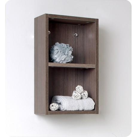 Fresca Gray Oak Bathroom Linen Side Cabinet w/ 2 Open Storage Areas