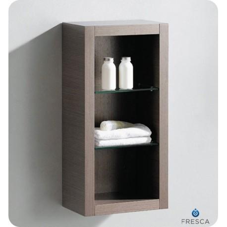 Fresca Gray Oak Bathroom Linen Side Cabinet w/ 2 Glass Shelves
