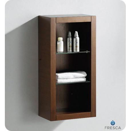 Fresca Wenge Brown Bathroom Linen Side Cabinet W 2 Glass
