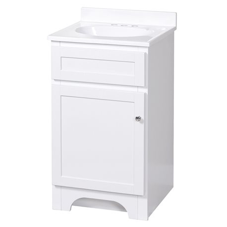 Columbia 18 Inch White Bath Vanity With Cultured Marble Vanity Top