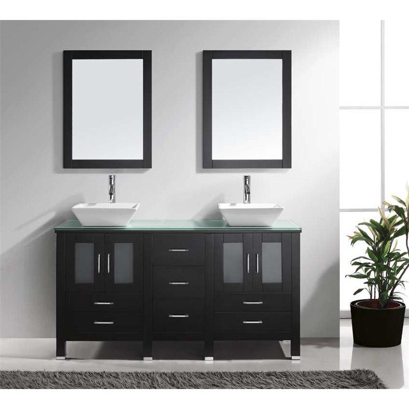 "Bradford 60"" Double Bathroom Vanity Cabinet Set in Espresso"