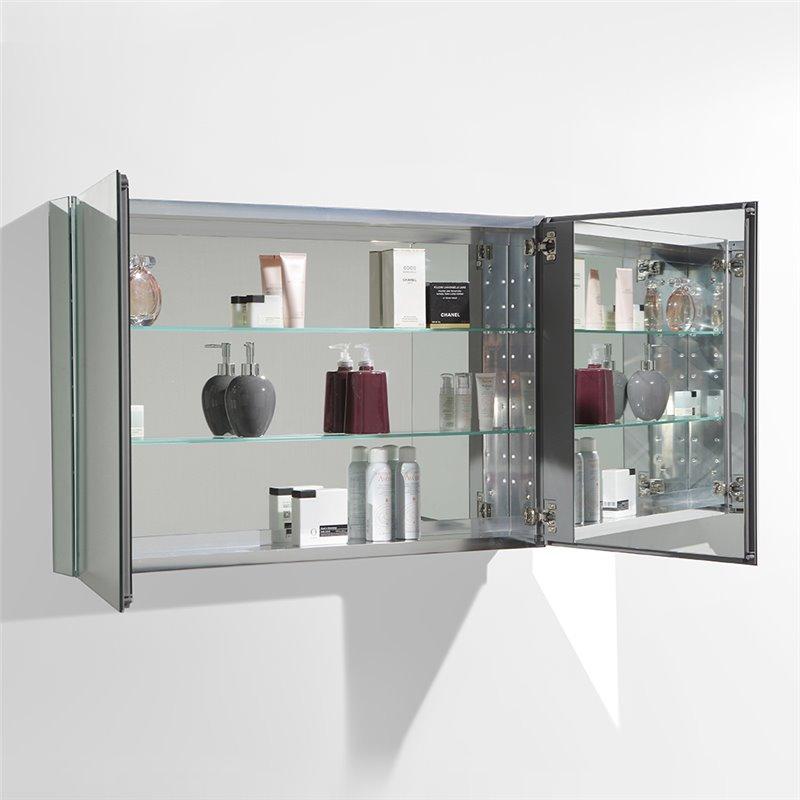 "fresca 40"" wide bathroom medicine cabinet w/ mirrors"