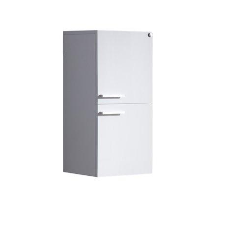 Fresca White Bathroom Linen Side Cabinet w/ 2 Storage Areas