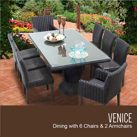 Venice Rectangular Outdoor Patio Dining Table With With 6 Armless Chairs And 2 Chairs W Arms