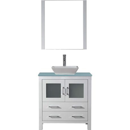 Dior 32 Single Bathroom Vanity In White With Aqua Tempered Glass Top And Square Sink With Polished Chrome Faucet And Mirror